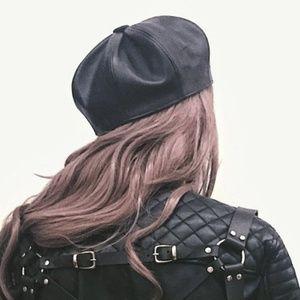 Black leather beret hat